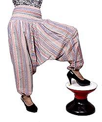Cotton Aladdin Striped Genie Harem Beggy Pants Gypsy Trousers Free Size (Multi)