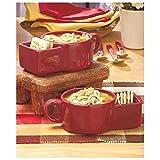 Sets of 2 Red Soup Chowder & Cracker Mugs Kitchen Decor