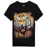 HAOYOUDUO メンズ黒シャツ 半袖3Dプリントタイガー柄 Tシャツ トップス