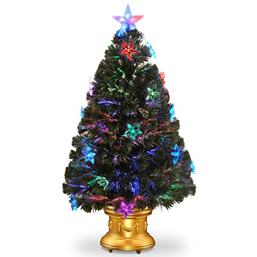 National Tree Fiber Optic Fireworks Tree With Clear Star And Gold Column Urn, 36-Inch
