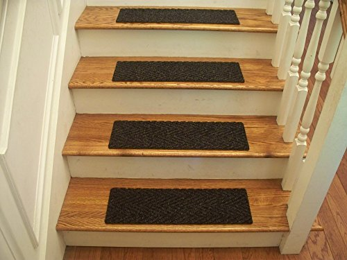 Essential Carpet Stair Treads - Style: Herringbone - Color: Charcoal - Size: 24