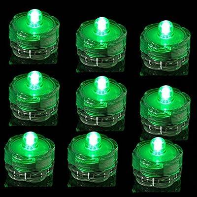 TDLTEK submersible Led Lights - Tea Lights - For Wedding ,Special Events, 12 Pack Green