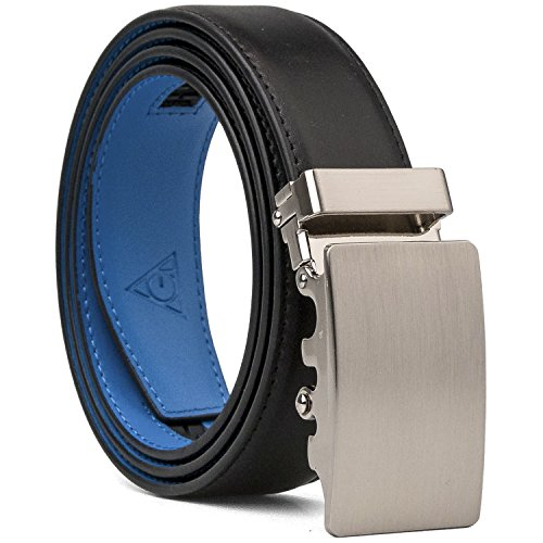 AOG DESIGN Two-tone Genuine Leather Sliding Belt with 35mm Automatic Ratchet Belt Buckle - Magnetic Edition (Black Blue) (Original Blue And Black Dress compare prices)