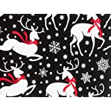 REINDEER & SNOWFLAKES Christmas Holiday Gift Wrap Paper - 16 Foot Continuous Roll