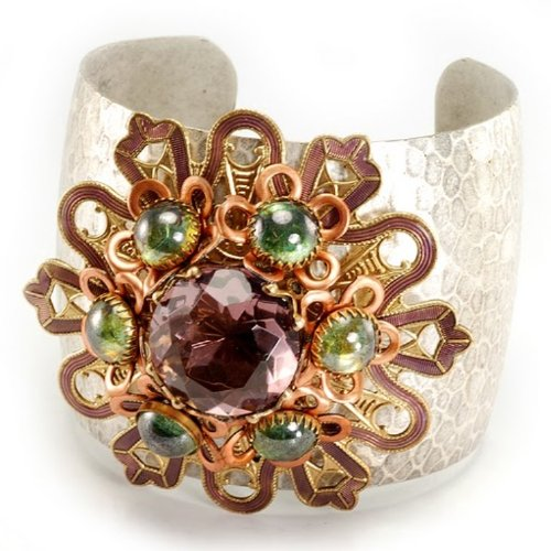 Designer Jewellery - Ollipop Vintage Amethyst Crystal, Sea Green Glass, Purple Enamel and Copper Cuff Bangle