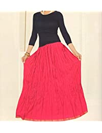 DISHA Cotton Solid Straight Long Skirt For Women (size: Length- 39 Inches) Waist- Non Stretch- 26 X After Stretch...