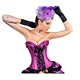 MUKA Burlesque Black Purple Lace Fashion Corset & Skirt, Bustier Tops for Women