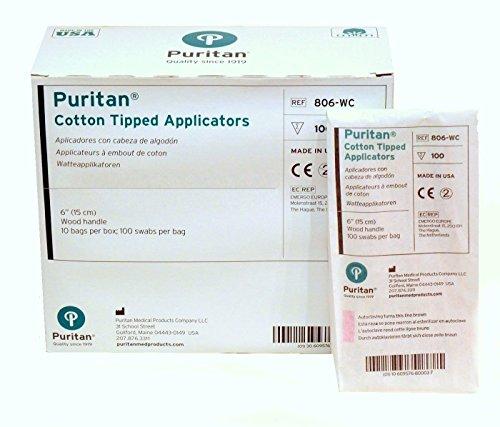 Puritan Applicator - Wood Handle Material and Cotton Head Material - 6 in Length - 806-WC [PRICE is per BOX of 1000 applicators]