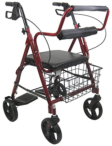 Karman Healthcare R-4602-T-BD Aluminum 2-in-1 Rollator/Transport, Burgundy, 8 Inches Casters