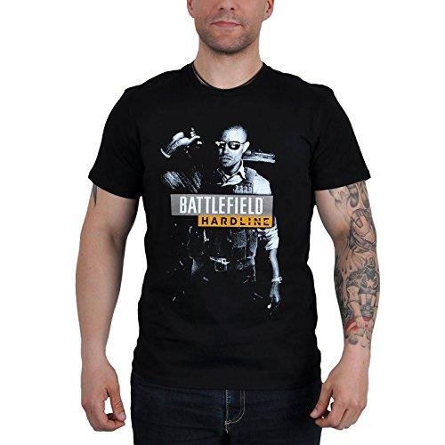 Battlefield - T-shirt tratta dal videogioco per PC con motivo Hardline - Grande motivo - Licenza ufficiale - Nero - XL