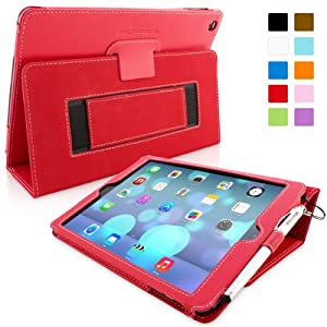 Snugg iPad Air (iPad 5) Case - Smart Cover with Flip Stand & Lifetime Guarantee (Red Leather) for Apple iPad Air (2013)