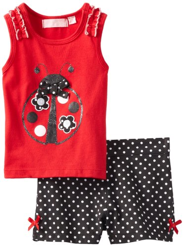 Kids Headquarters Girls 2-6X Top With Short Toddler Set, Red, 4T