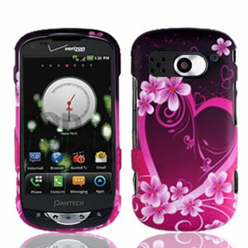 Verizon Pantech Breakout Accessory - Lovely Heart & Flower Designer Protective Hard Case Cover + Exclusive MyDroid Magnet