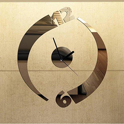 Dupin Llc (Tm) Fashion Simple Personality Mirror Clock Wall Clock Home Decoration Modern Art Design Diy 3D Stickers Child Bedroom (Silver)