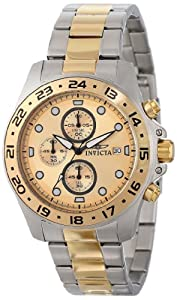 Invicta Mens 15207 Pro Diver Chronograph Gold Dial Two Tone Stainless Steel Watch