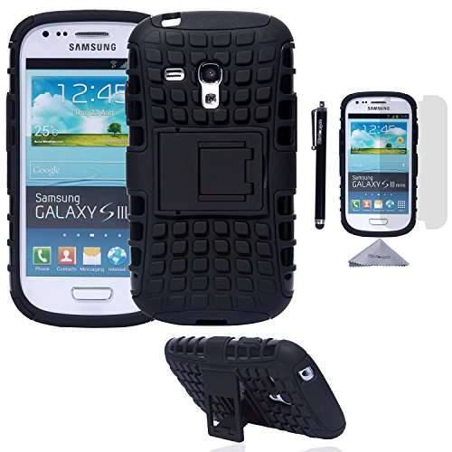S3 Mini Case, Wisdompro [2 Piece in 1] Dual Layers [Heavy Duty] Hard Soft Hybrid Rugged Protective Case with [Foldable Kickstand] for Samsung Galaxy S3 Mini (NOT S3 Fit) - Black / Black (Phone Case Samsung Galaxy S3 Mini compare prices)
