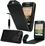 Magic Global Gadgets - New Stylish Black Magnetic Flip PU Leather Case Cover Pouch For Motorola Motosmart XT389/XT390 With Screen Guard & Stylus