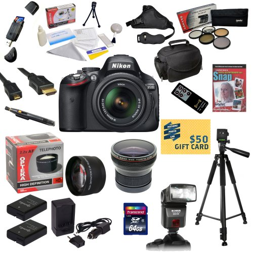 $$  Nikon D5100 Digital SLR Camera with 18-55mm NIKKOR VR Lens With Pro Shooter Accessory Kit: 64GB High-Speed SDXC Card + Card Reader + 2 Extended Life Batteries + Dual Battery Charger + Opteka HD² 0.20X Professional Wide Angle Super AF Fisheye Lens + 2.2x HD2 AF Telephoto Lens + 5 Piece Pro Filter Kit (UV, CPL, FL, ND4 and 10x Macro Lens) + Dedicated I-TTL AF Bounce Zoom Flash + HDMI Cable + Padded Gadget Bag + Remote Control + Professional 60