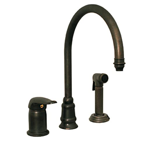 Whitehaus WH18664-WBRZ Evolution 9 1/2-Inch Three Hole Faucet with Single Lever Mixer, Gooseneck Spout, and Fluted Side Spray, Weathered Bronze