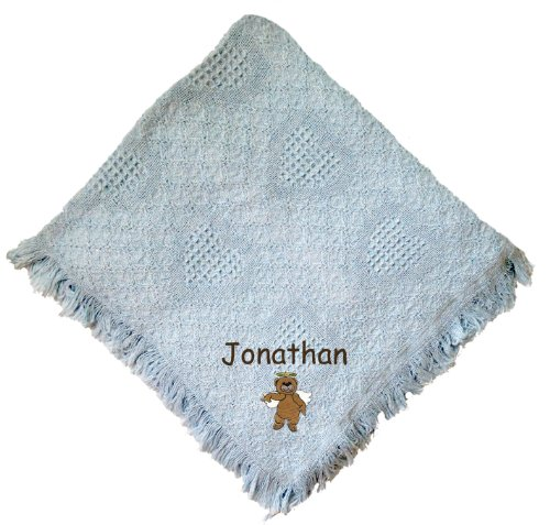 Angel Bear Blue 100% Cotton Custom Embroidered Personalized Baby Blanket Hot Pink Thread front-954700