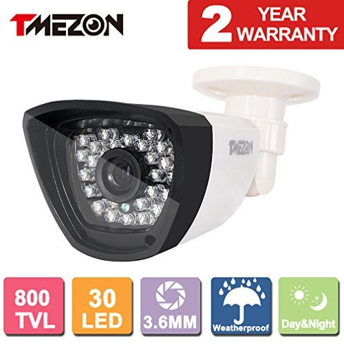 TMEZON HD 800TVL 30 IR-LEDs 960H CCTV Camera Home Security Day/Night Waterproof In/Outdoor Camera 3.6mm Wide Angle Lens