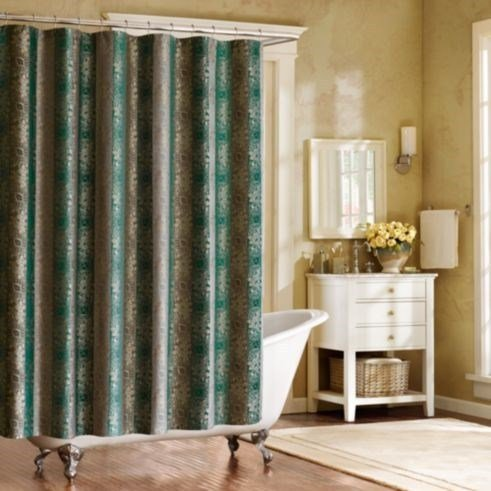 Bombay Moroccan Luxury Fabric Shower Curtain In Shades Of Teal, Grey U0026 Gold