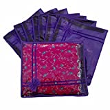Indi Bargain Purple Non Woven Designer Saree Cover - Set of 8
