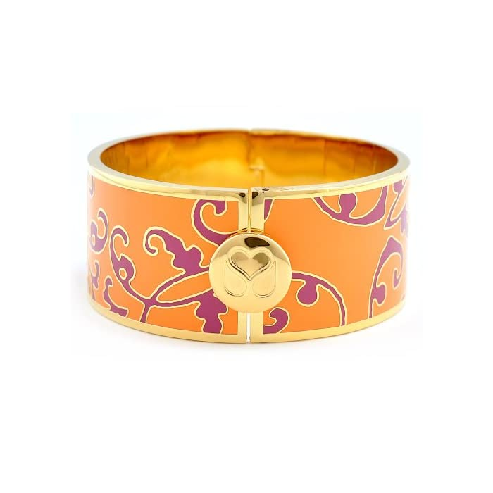 Stowe Street Edith Stencil Hinged Cuff Enamel Bracelet (Tangerine/Pink/Gold Plated)