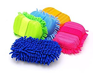 Pacii Microfiber Chenille Auto Car Wash Sponge Cleaning Brush Pad,Thick and Super Absorbent,Lint Free,Scratch Free Use Wet or Dry,Set of 2 (Random Color)