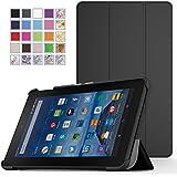 MoKo Amazon Fire 7 2015 Case - Ultra Sottile Leggero Supporto Custodia per Amazon Fire 7.0 pollici Display Tablet (5ª generazione - modello 2015), NERO