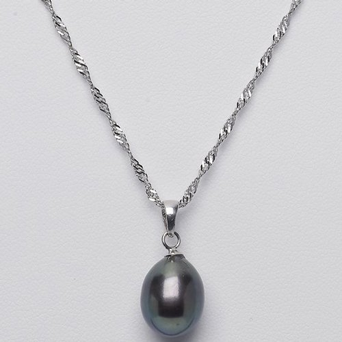 Sterling Silver 9mm Black Freshwater Pearl Drop Necklace- 18 Inches