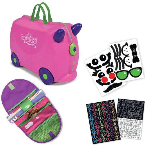 Pink Trunki By Melissa And Doug Ride On Luggage With Decorative Stickers And Matching Saddlebag