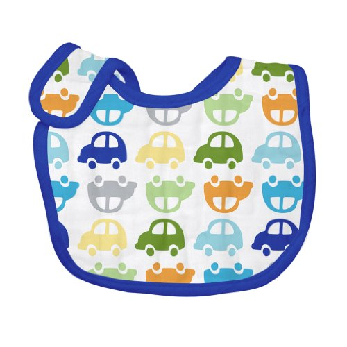 green sprouts Brights Organic Muslin Bib, Car Print - 1