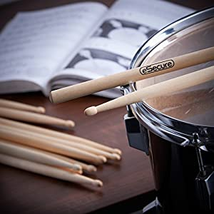eSecure - 12 Drum Sticks (6 pairs) 5A Drumsticks Maple High Quality Wood UK by eSecure