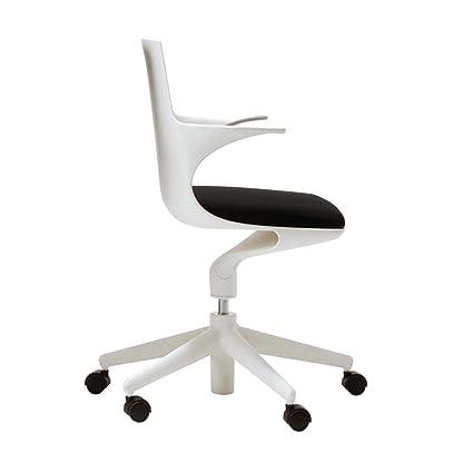 Kartell 4819/03 Spoon Chair Poltrona Girevole, Bianco/Nero