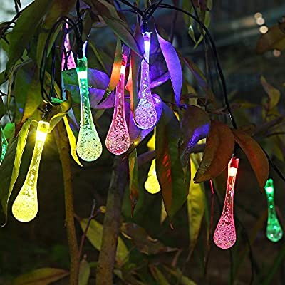 Gracetop Solar Christmas Lights 16.7ft 6m 20 LED 8 Modes Water Drop Solar Fairy String Lights for Halloween Lights Decorations, Outdoor, Gardens, Homes(20 LED Multi color)