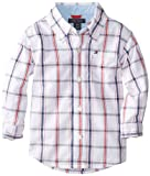 Tommy Hilfiger Baby-Boys Infant Samuel Plaid Shirt, White, 12 Months