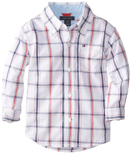 Tommy Hilfiger Baby Boys' Samuel Plaid Shirt, White, 18 Months