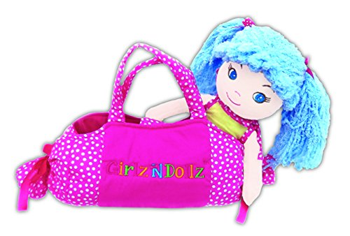 "Sophia Cute with Pink Bag Stuffed Soft Rag Doll Baby Kids 14""/8"" Girlzndollz - 1"