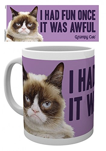 Set: Gatti, Grumpy Cat, Fun Tazza Da Caffè Mug (9x8 cm) e 1 Sticker sorpresa 1art1®