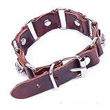 Nice Buckeye Punk Style Gothic Skull Fashion Adjustable Length Leather Bracelet