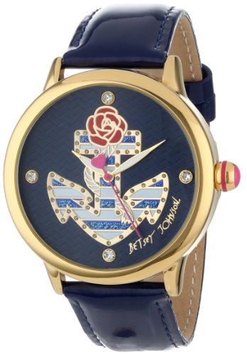 Betsey Johnson Women's BJ00210-01 Analog Striped Anchor Dial Watch