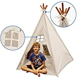 EasyGoProducts Indoor Teepee Tent, Kids Classic Indian Play Tent and Carry Bag, Walls with Door, Window and Floor,, 5 Poles, 6' Tall