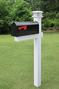 The Galaxy Solar Light White Vinyl / PVC Mailbox Post - White (Includes Mailbox)