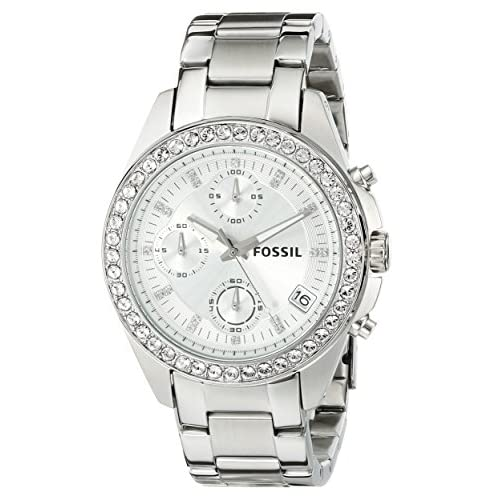 Fossil Ladies Watch ES2681 with Silver Coloured Dial, Clear Stone Set Bezel and Stainless Steel Bracelet