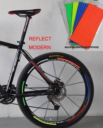 Treading(TM) 1 Sheet (8 Stripes) Reflective Bike bicycle rim sticker,fit for Disc brake Bicycle 26