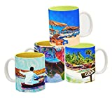 Tangerine Indie Tadka Goa and Srinagar Porcelain Mug Set, 250ml, Set of 4, Multicolour