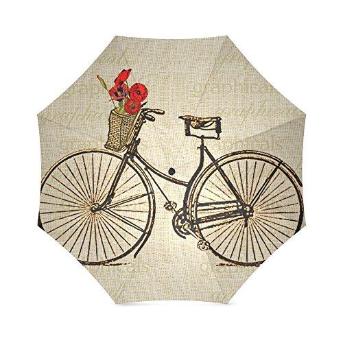 Vintage Bicycle and Flowers Print Design Lightweight Rain/Sun Umbrella Folding Anti-uv, Wind-proof Travel Umbrella 0