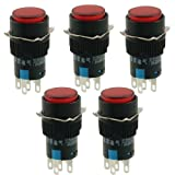 5 Pcs AC 220V Red Lamp Round Latching 1NO 1NC Push Button Switch