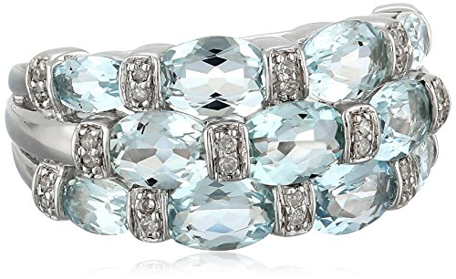 Sterling Silver Aquamarine and 0.1cttw White Diamond Ring, Size 7